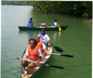 teens in a canoe